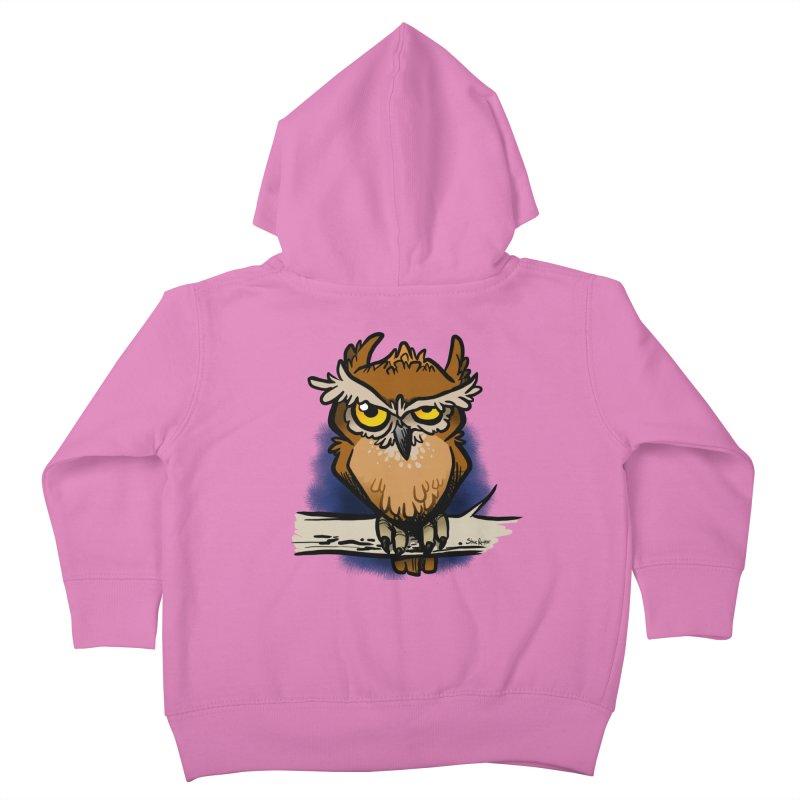 Grumpy Owl Kids Toddler Zip-Up Hoody by binarygod's Artist Shop