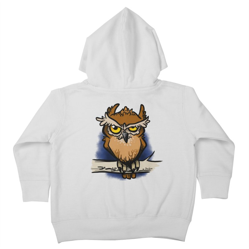 Grumpy Owl Kids Toddler Zip-Up Hoody by binarygod's Artist Shop