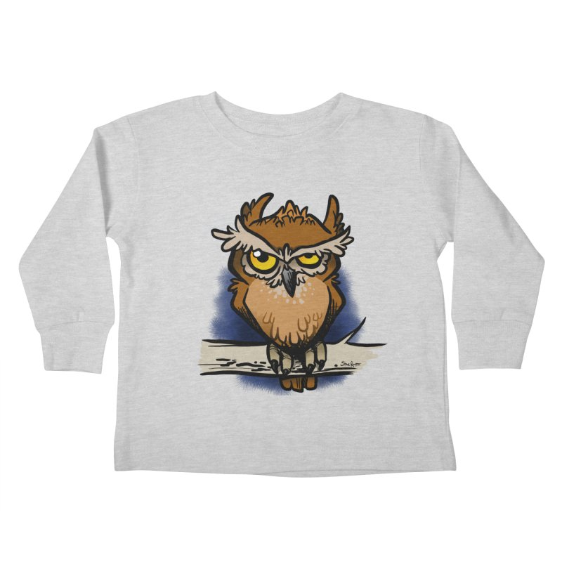 Grumpy Owl Kids Toddler Longsleeve T-Shirt by binarygod's Artist Shop
