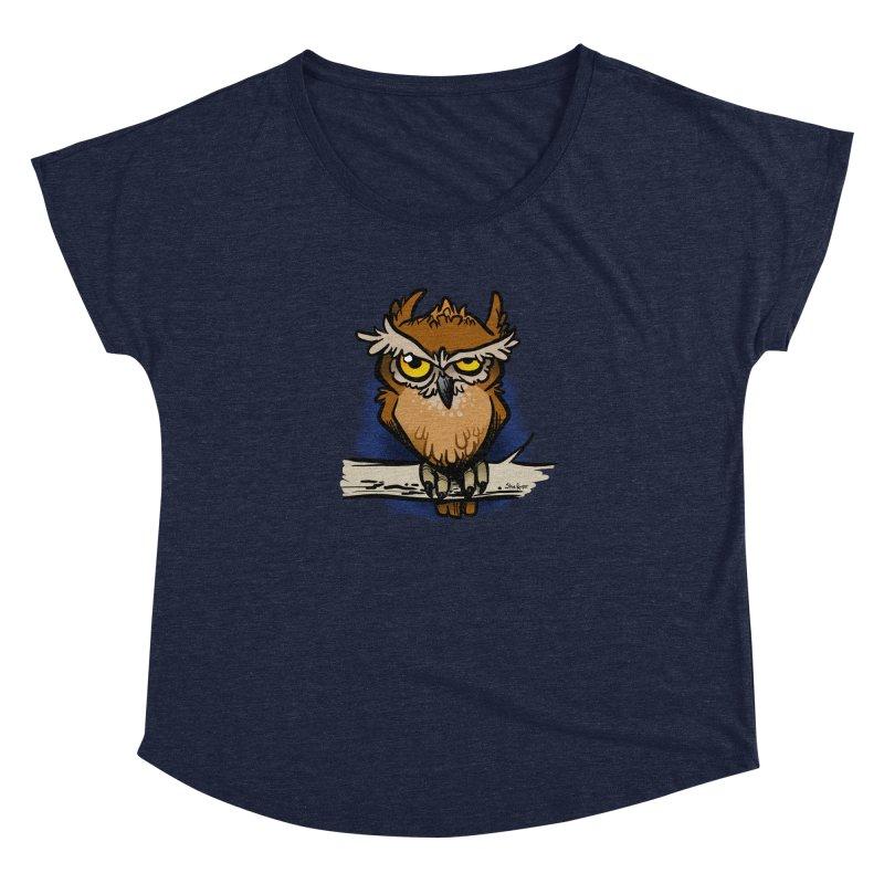 Grumpy Owl Women's Dolman Scoop Neck by binarygod's Artist Shop