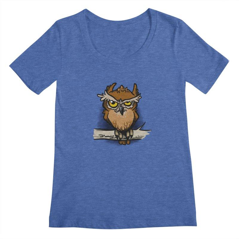 Grumpy Owl Women's Regular Scoop Neck by binarygod's Artist Shop