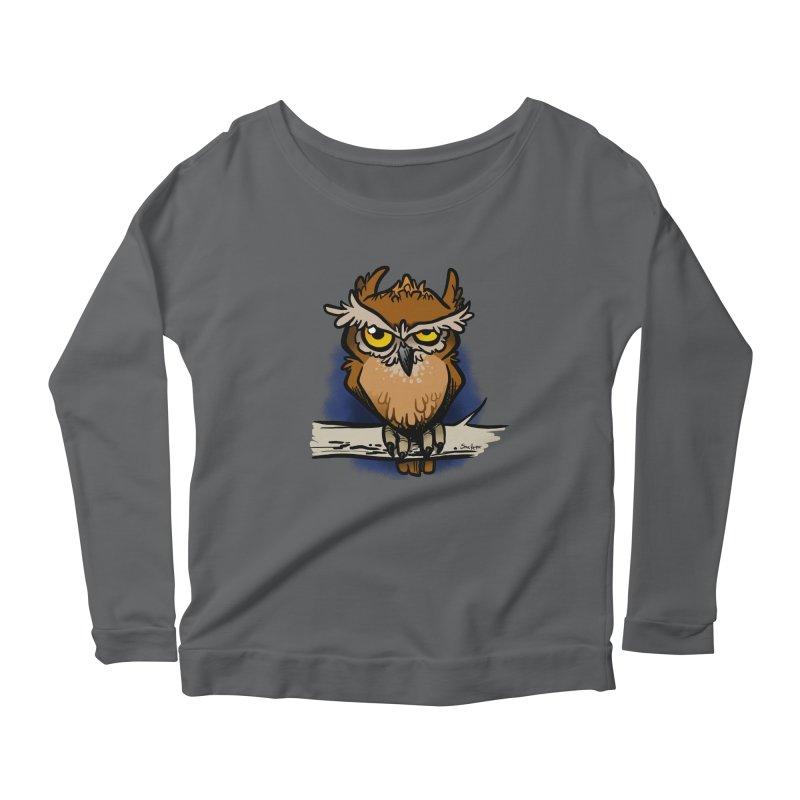 Grumpy Owl Women's Scoop Neck Longsleeve T-Shirt by binarygod's Artist Shop