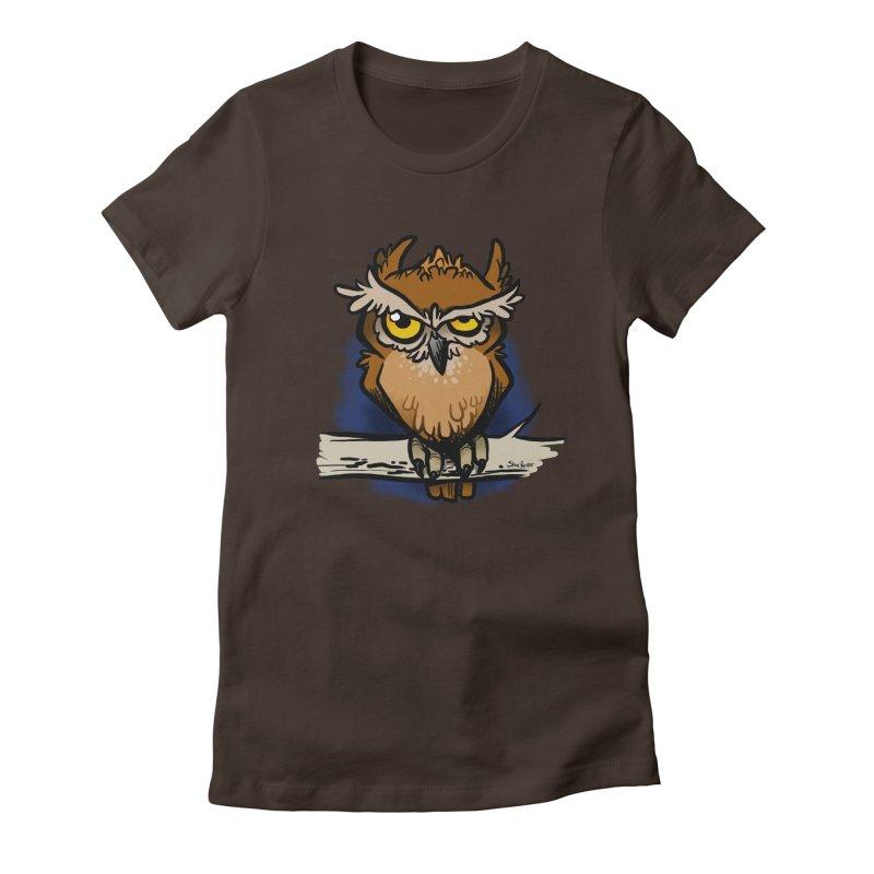 Grumpy Owl Women's Fitted T-Shirt by binarygod's Artist Shop