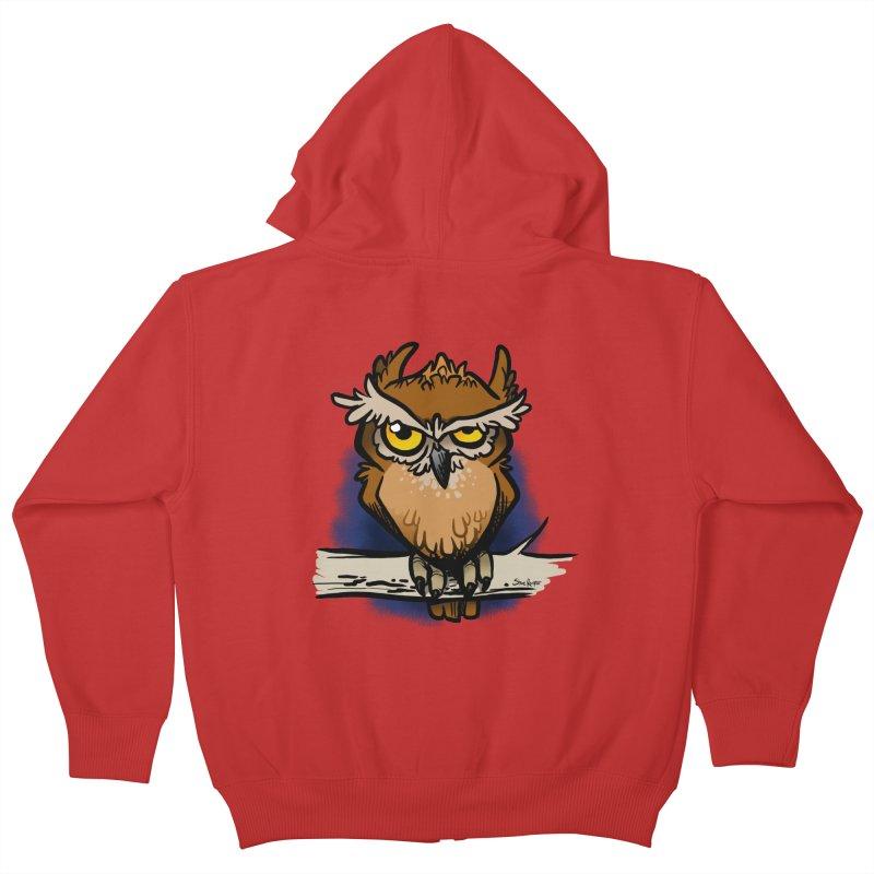 Grumpy Owl Kids Zip-Up Hoody by binarygod's Artist Shop