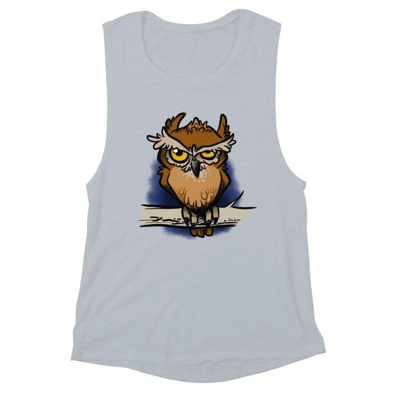 Grumpy Owl Women's Muscle Tank by binarygod's Artist Shop