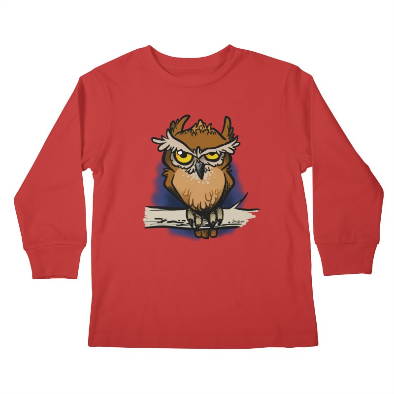 Grumpy Owl Kids Longsleeve T-Shirt by binarygod's Artist Shop