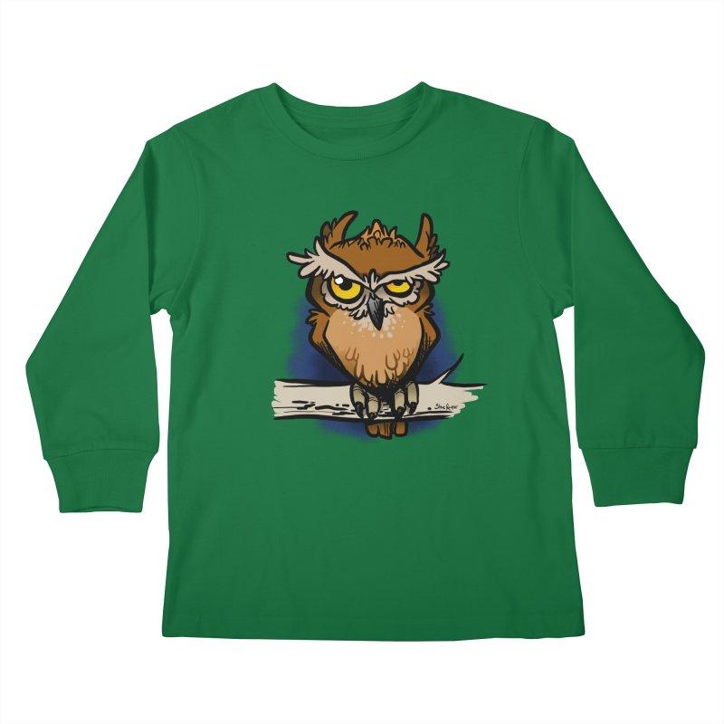 Grumpy Owl Kids Longsleeve T-Shirt by binarygod's Artist Shop