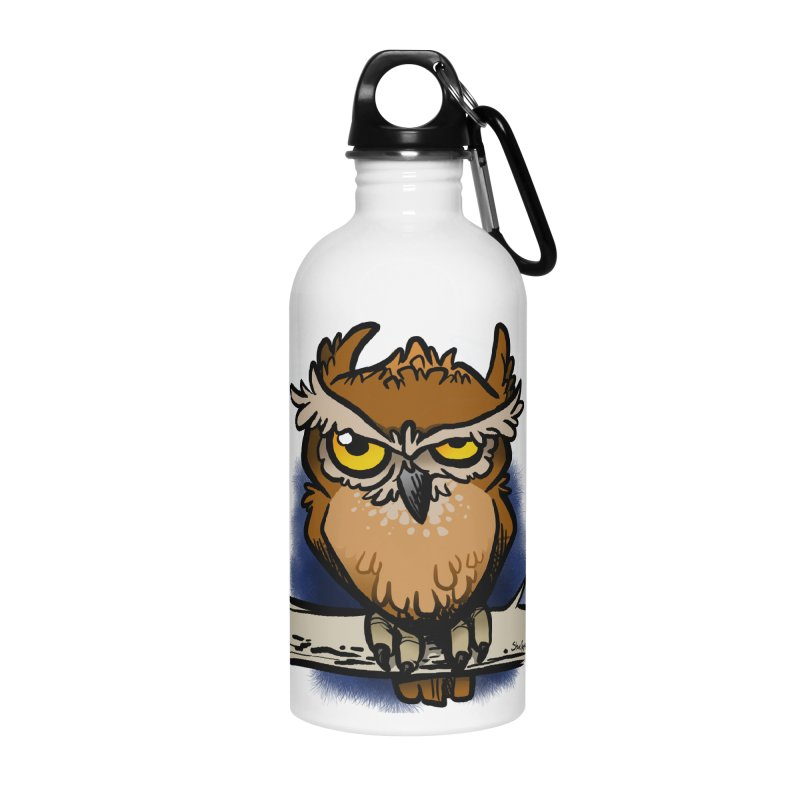 Grumpy Owl Accessories Water Bottle by binarygod's Artist Shop