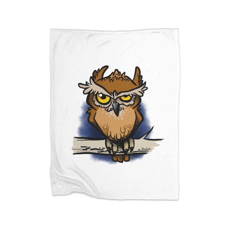 Grumpy Owl Home Fleece Blanket Blanket by binarygod's Artist Shop