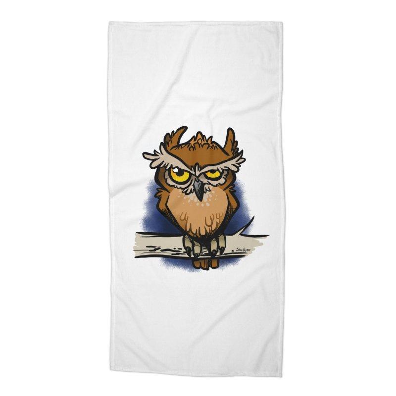 Grumpy Owl Accessories Beach Towel by binarygod's Artist Shop