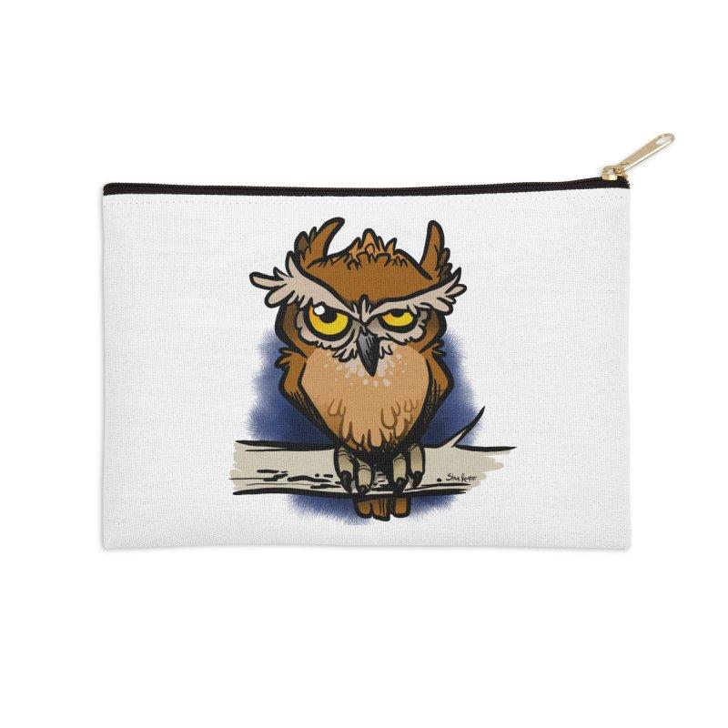 Grumpy Owl Accessories Zip Pouch by binarygod's Artist Shop