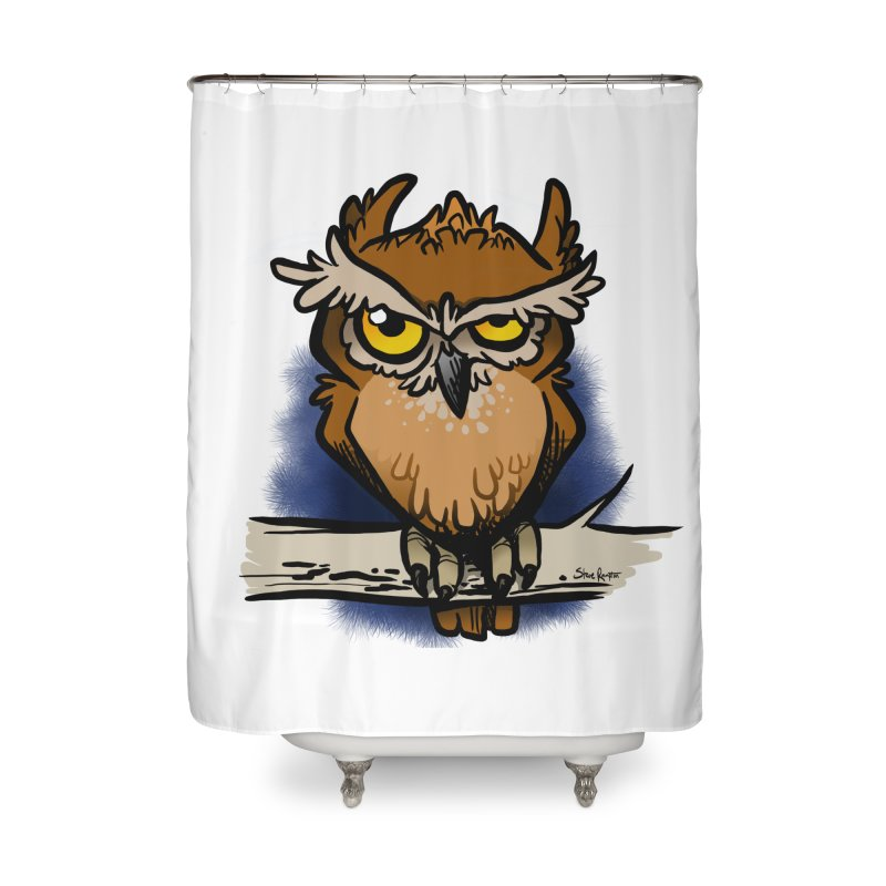 Grumpy Owl Home Shower Curtain by binarygod's Artist Shop