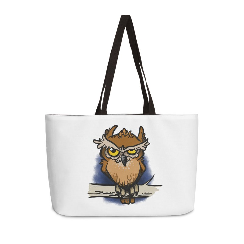 Grumpy Owl Accessories Weekender Bag Bag by binarygod's Artist Shop