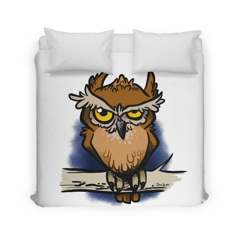 Grumpy Owl Home Duvet by binarygod's Artist Shop