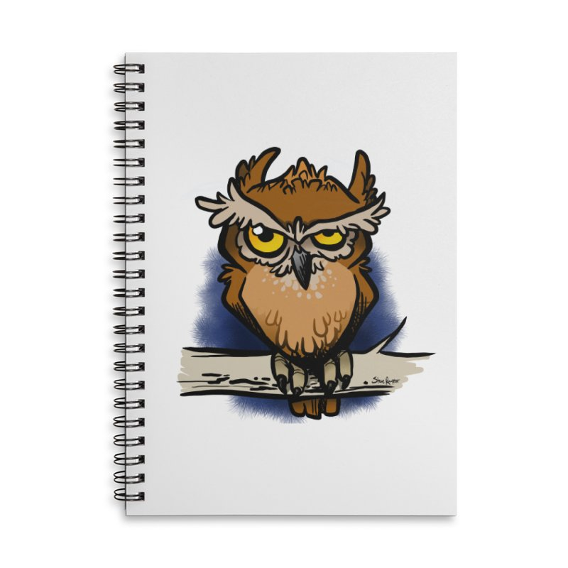 Grumpy Owl Accessories Lined Spiral Notebook by binarygod's Artist Shop
