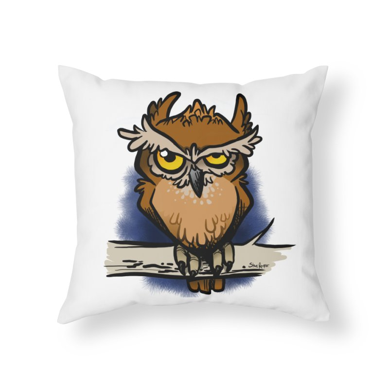 Grumpy Owl Home Throw Pillow by binarygod's Artist Shop