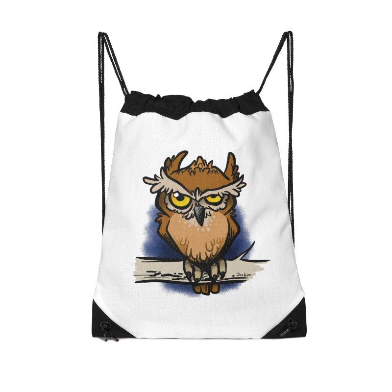 Grumpy Owl Accessories Drawstring Bag Bag by binarygod's Artist Shop