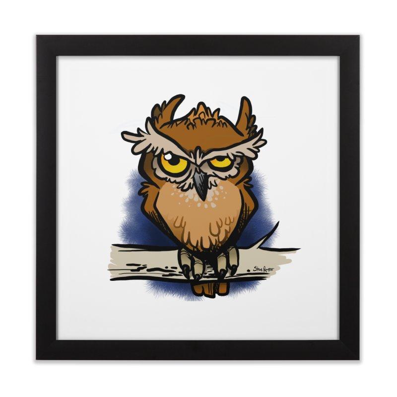 Grumpy Owl Home Framed Fine Art Print by binarygod's Artist Shop