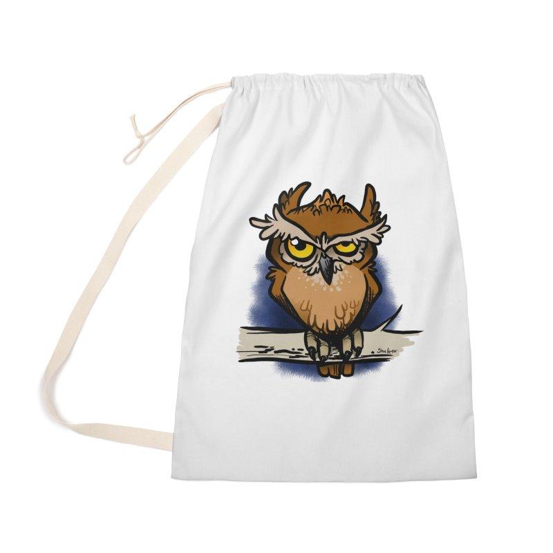Grumpy Owl Accessories Bag by binarygod's Artist Shop