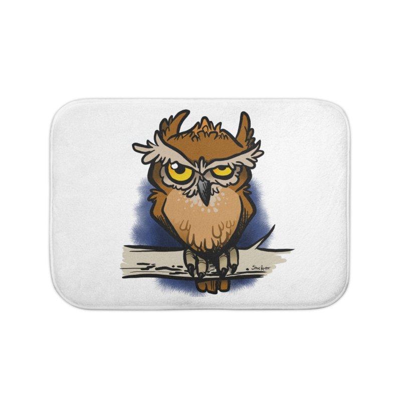 Grumpy Owl Home Bath Mat by binarygod's Artist Shop