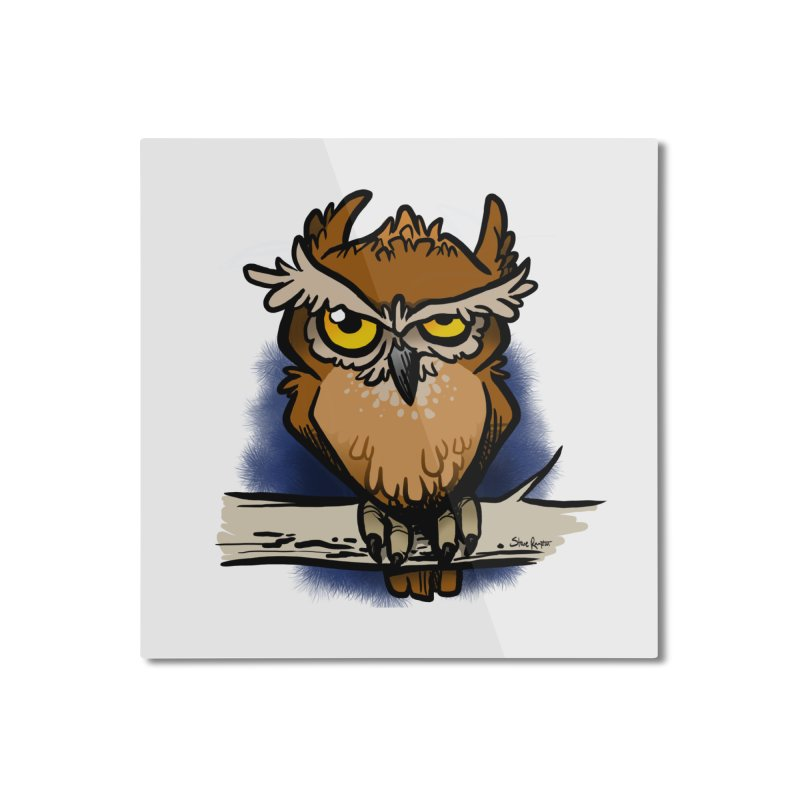 Grumpy Owl Home Mounted Aluminum Print by binarygod's Artist Shop