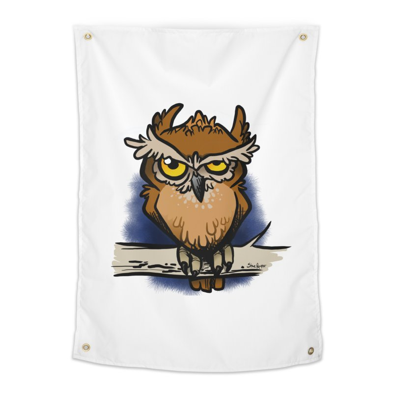 Grumpy Owl Home Tapestry by binarygod's Artist Shop