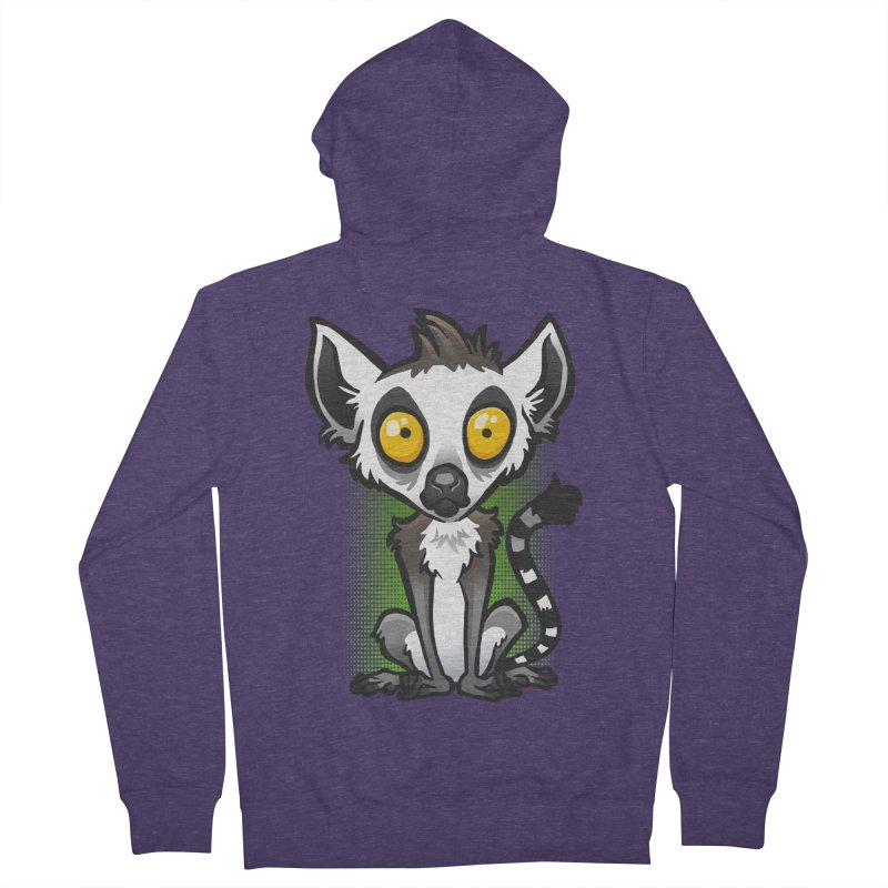 Ring-Tailed Lemur Men's French Terry Zip-Up Hoody by binarygod's Artist Shop