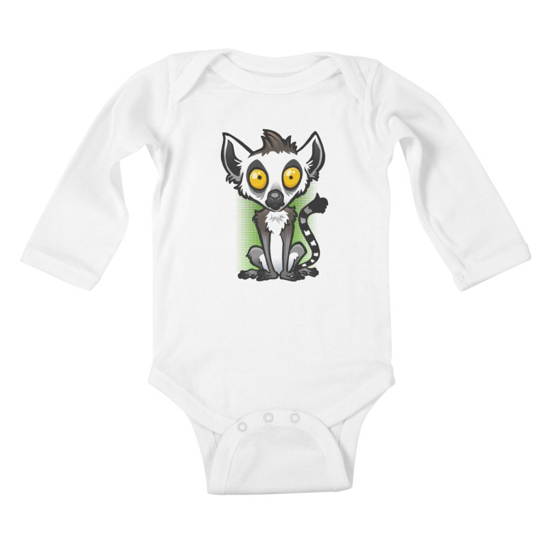 Ring-Tailed Lemur Kids Baby Longsleeve Bodysuit by binarygod's Artist Shop