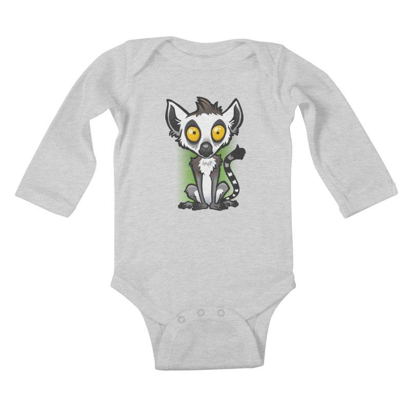 Ring-Tailed Lemur Kids Baby Longsleeve Bodysuit by binarygod's Artist Shop
