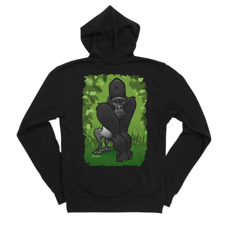 Silverback Gorilla Men's Sponge Fleece Zip-Up Hoody by binarygod's Artist Shop