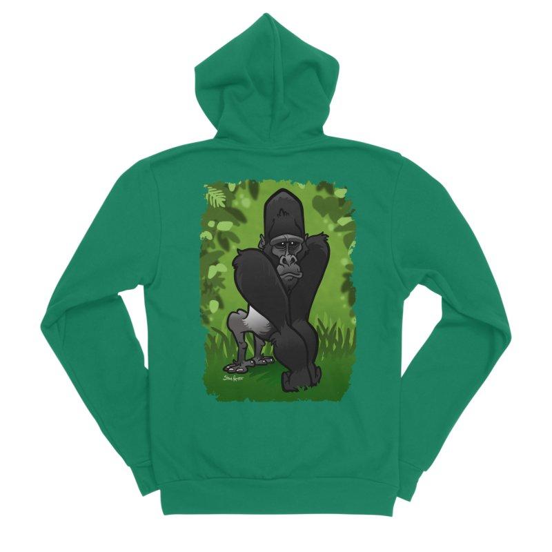 Silverback Gorilla Men's Sponge Fleece Zip-Up Hoody by binarygod's Artist Shop
