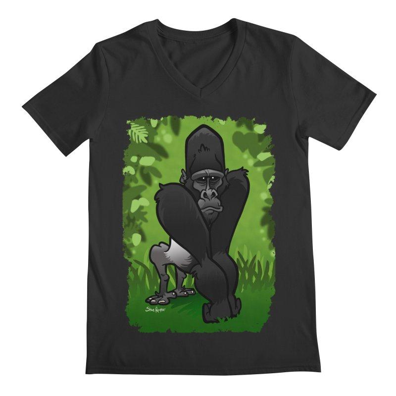 Silverback Gorilla Men's Regular V-Neck by binarygod's Artist Shop