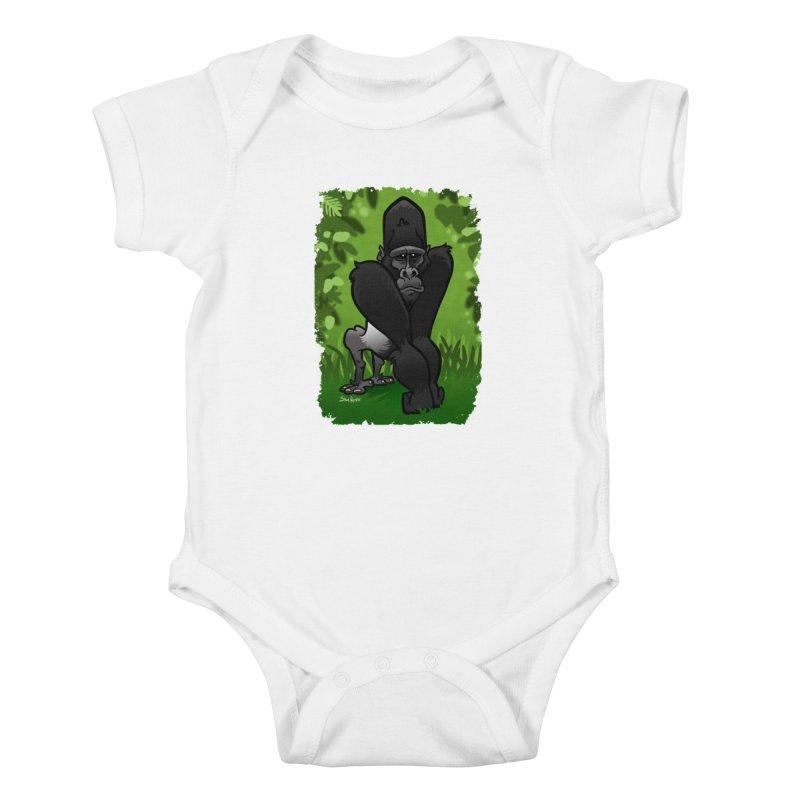 Silverback Gorilla Kids Baby Bodysuit by binarygod's Artist Shop