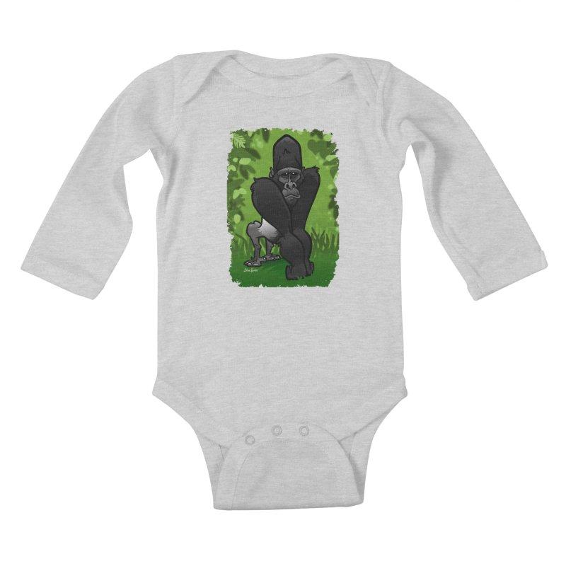 Silverback Gorilla Kids Baby Longsleeve Bodysuit by binarygod's Artist Shop