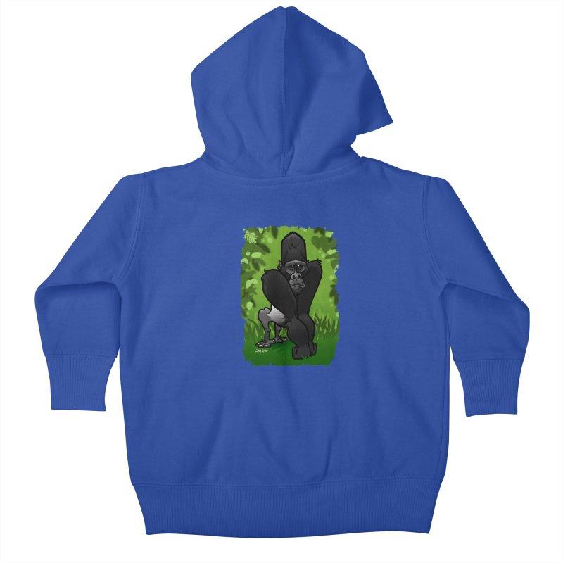 Silverback Gorilla Kids Baby Zip-Up Hoody by binarygod's Artist Shop