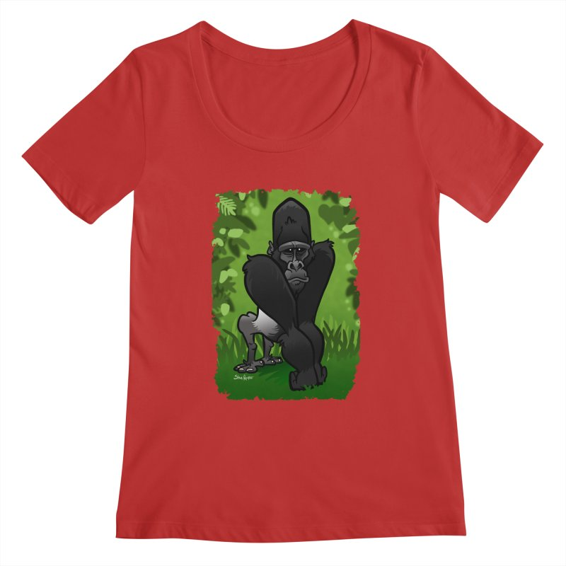 Silverback Gorilla Women's Regular Scoop Neck by binarygod's Artist Shop