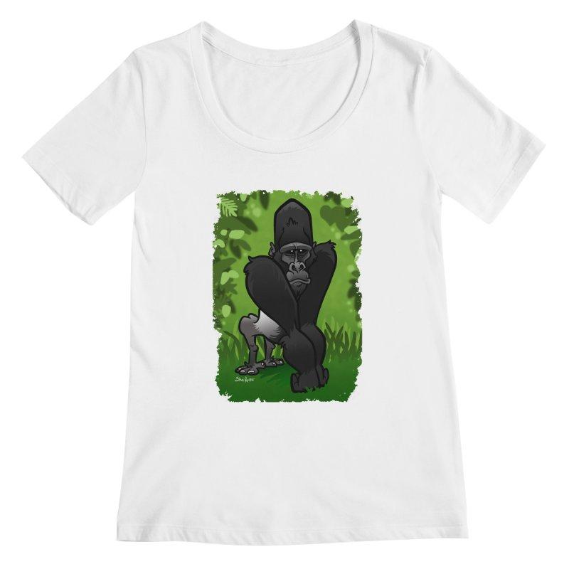 Silverback Gorilla Women's Scoopneck by binarygod's Artist Shop