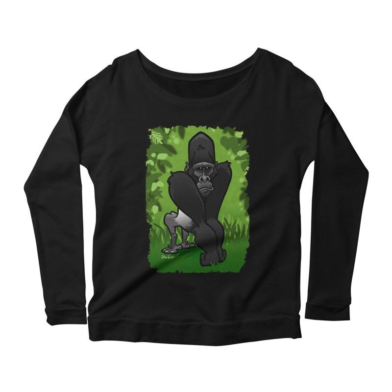 Silverback Gorilla Women's Scoop Neck Longsleeve T-Shirt by binarygod's Artist Shop