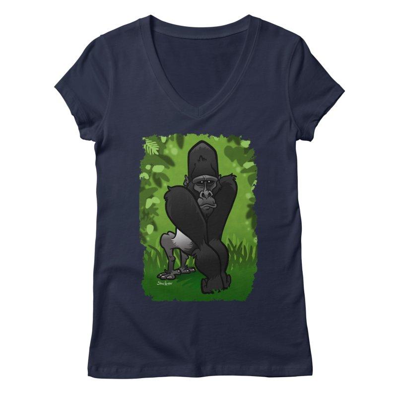 Silverback Gorilla Women's V-Neck by binarygod's Artist Shop