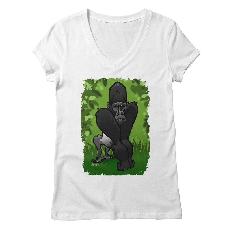 Silverback Gorilla Women's Regular V-Neck by binarygod's Artist Shop