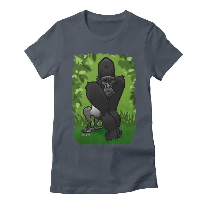 Silverback Gorilla Women's Fitted T-Shirt by binarygod's Artist Shop