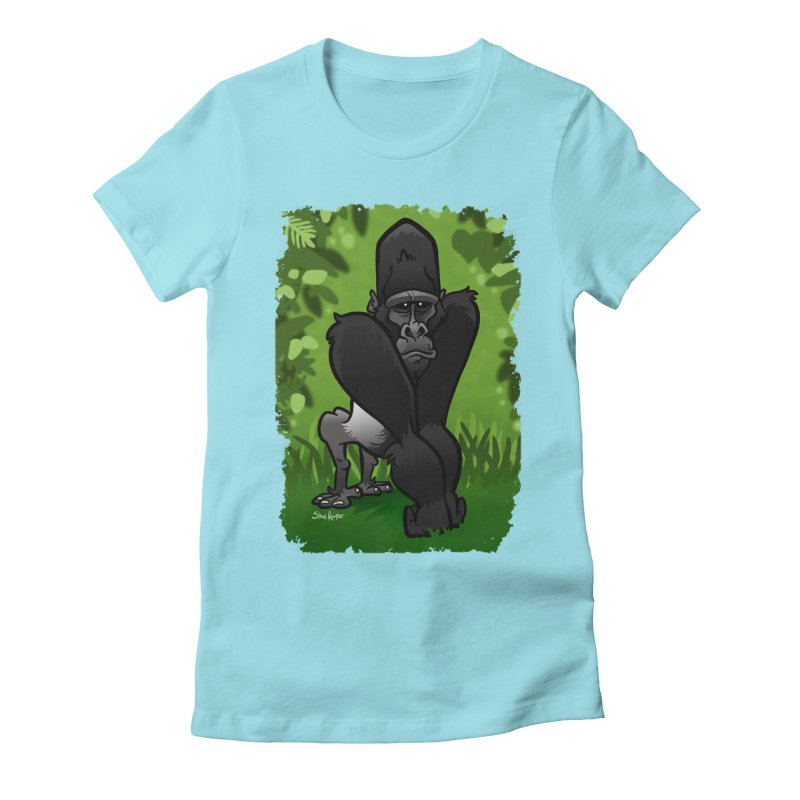 Silverback Gorilla Women's Fitted T-Shirt by binarygod's Artist Shop