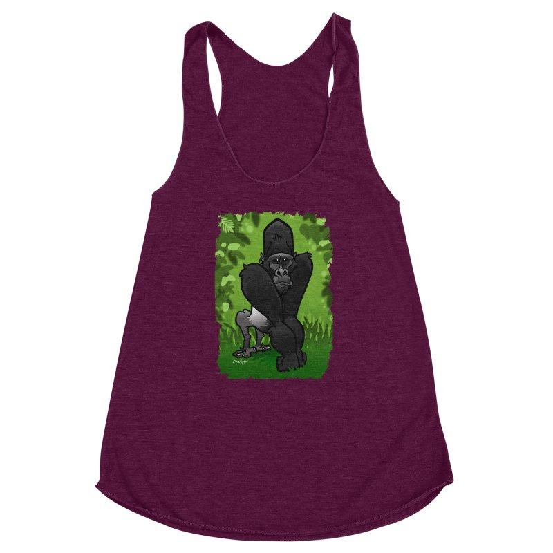 Silverback Gorilla Women's Racerback Triblend Tank by binarygod's Artist Shop