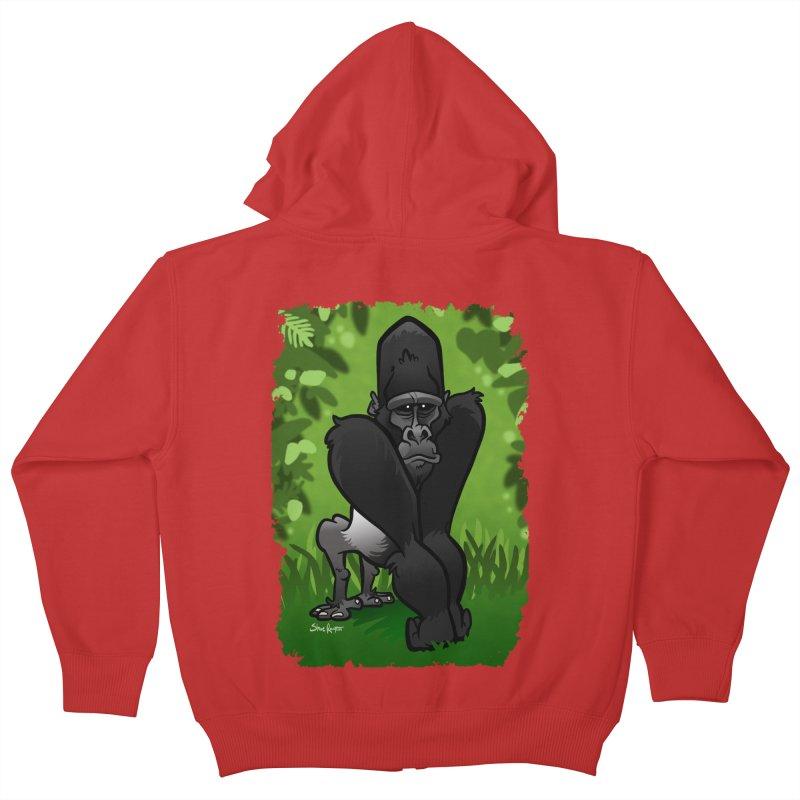 Silverback Gorilla Kids Zip-Up Hoody by binarygod's Artist Shop