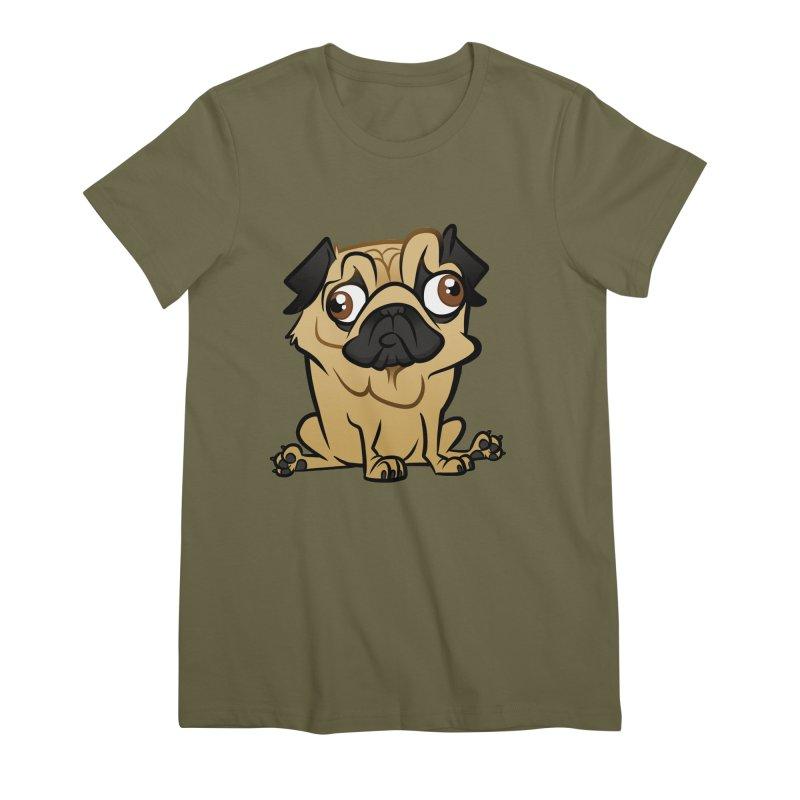 Pug Women's Premium T-Shirt by binarygod's Artist Shop