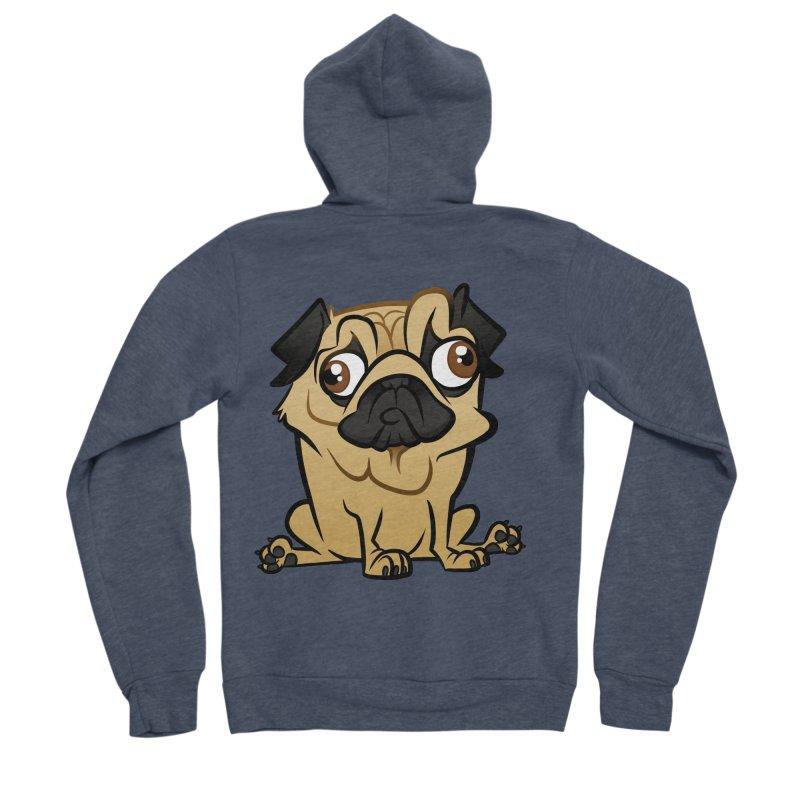 Pug Women's Sponge Fleece Zip-Up Hoody by binarygod's Artist Shop