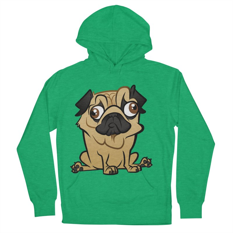 Pug Women's French Terry Pullover Hoody by binarygod's Artist Shop