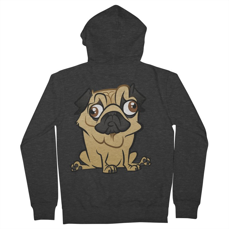 Pug Women's French Terry Zip-Up Hoody by binarygod's Artist Shop