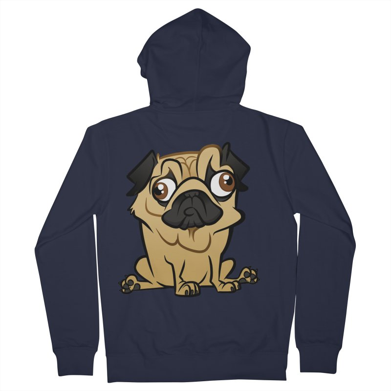 Pug Men's French Terry Zip-Up Hoody by binarygod's Artist Shop