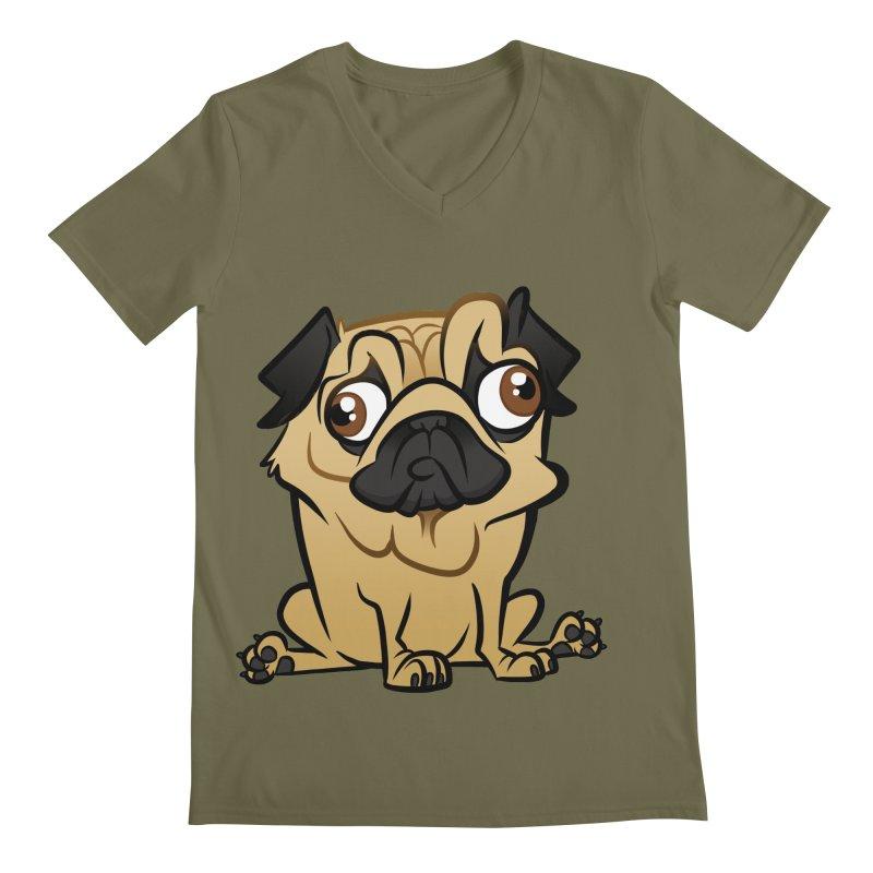 Pug Men's Regular V-Neck by binarygod's Artist Shop